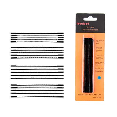 Idealead 20 Stück Standard Feinschnitt Sägeblätter mit Querstift, Dekupiersägeblätter, Laubsägeblatt