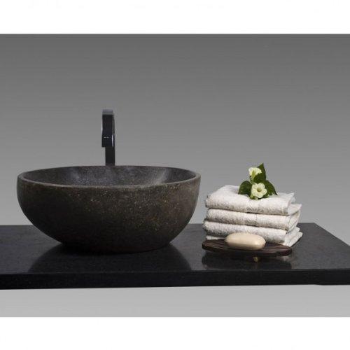 wohnfreuden Steinwaschbecken rund ca 40 cm Flussstein in Bad Garten mit Unikatauswahl nach dem Kauf aus Naturstein Bildergalerie