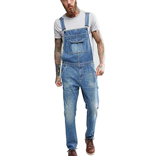 Caige Jeans Moda Slim Denim Salopette Uomo,Blu,L