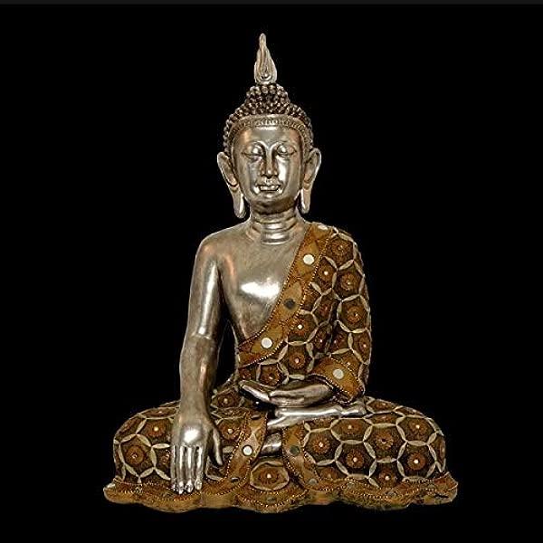 TisYourSeason Thai Sitting Buddha Statue Polyresin Sculpture Mirrors