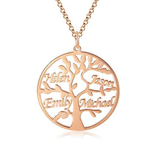 Jessemade Collar con Nombre de Plata de Ley 925, con Nombre Personalizado, árbol de la Vida, Colgante de árbol de la Vida con Grabado, de 1 a 9 Nombres, Regalo de joyería Familiar