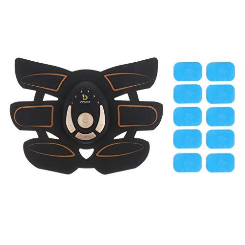 Hellery Entrenador de Músculos del Brazo Estimulador de Abdominales Entrenador de Quemador de Cinturón Tonificante con Gel - Naranja + Negro, 6 Almohadillas ABS