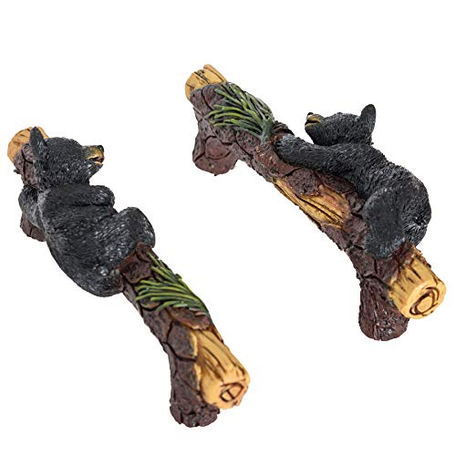 Black Bear Cabinet Knobs and Pulls Set of 2 - Wildlife Cabinet Pulls Animal Dresser Knobs for Kids - Bear Drawer Knobs Kitchen Cabinets Black Bear Hardware - Dresser Knobs for Boys Nursery