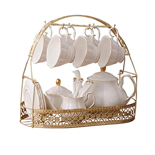 15 Pieces Simple White English Ceramic Tea Sets Tea Pot Bone China Cups With Metal Holder Matching Spoons Afternoon Tea Set Service Coffee Set