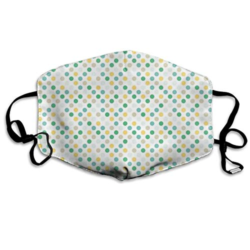 Face Anti-Dust Mask Men Women,Continuous Geometric Themed Creative Pattern with Vintage Colorful Polka Dot Rounds,Washable and Reusable