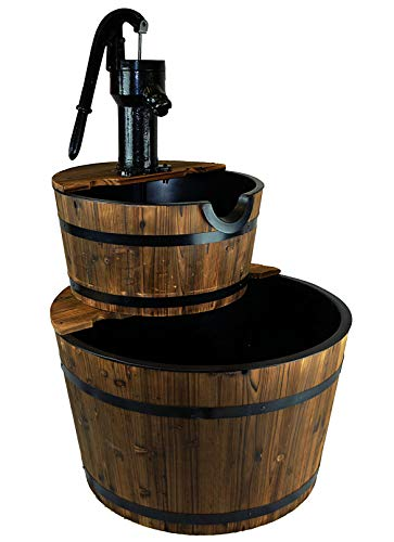 Water Fountains Outdoor Wood Barrel with Pump - Large Garden Water Fountain Product SKU: PL50001