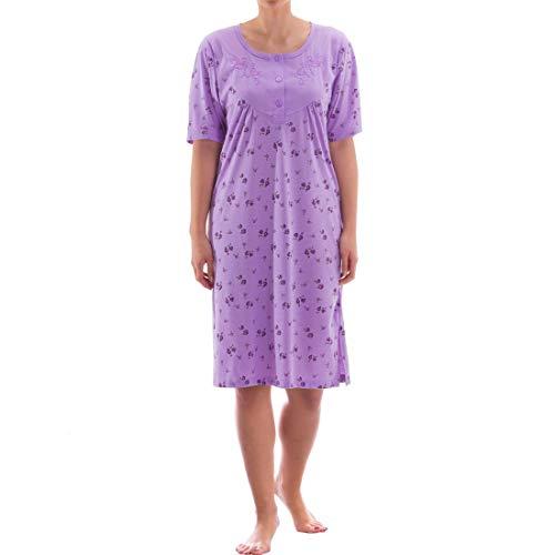 Zeitlos Nachthemd Kurzarm mit Floralem Druck (M, Flieder)