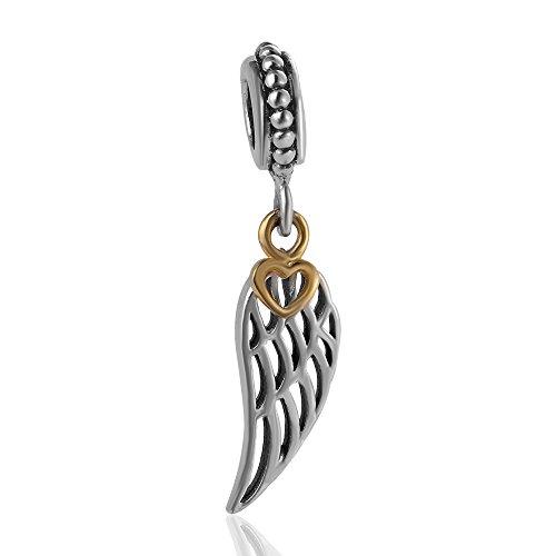 Hoobeads - Pendente-perlina per braccialetto stile europeo con cuore dorato, in argento Sterling 925