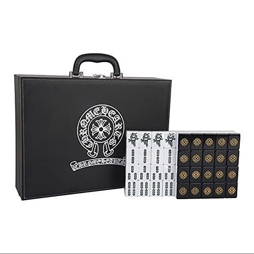 Mahjong Un Set Completo di 144 Tessere Viaggio con La Valigia Grande Nero E Oro con Mano Casalinga (Color : Black And Gold, Size : 40mm)
