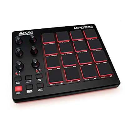 AKAI Professional MPD218 - Ultra-Portable USB Bus-Powered 16-Pad USB/MIDI Pad Controller with MPC Pads, 6 Assignable Knobs, Note Repeat & Full Level Buttons, and Production Software Package Included