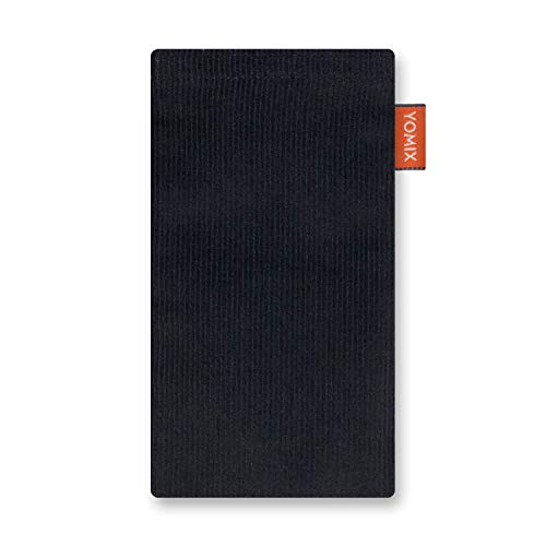 YOMIX Lasse Schwarz Handytasche Tasche für Motorola Moto E6 Plus aus Cordstoff mit Microfaserinnenfutter | Hülle mit Reinigungsfunktion | Made in Germany