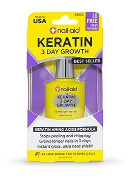 Nail-Aid Keratin 3 Day Growth Nail Treatment & Strengthener Clear 0.55 Fl Oz