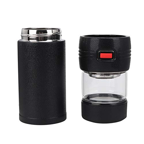 Botella de agua, acero inoxidable aislado taza transparente portátil de vidrio para el té para el viaje