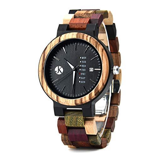Kim Johanson Herren Holz-Edelstahl Armbanduhr *Colorful Week* mit Datum- & Tagesanzeige Handgefertigt Quarz Analog Uhr inkl. Geschenkbox