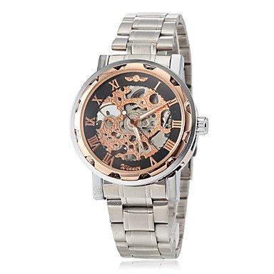 XKC-watches Relojes para Hombres, Hombre Reloj de Pulsera Cuerda Manual Huecograbado Acero Inoxidable Banda Mariposa Plata Marca- Winner (Color : Oro Rosa, Talla : Una Talla)