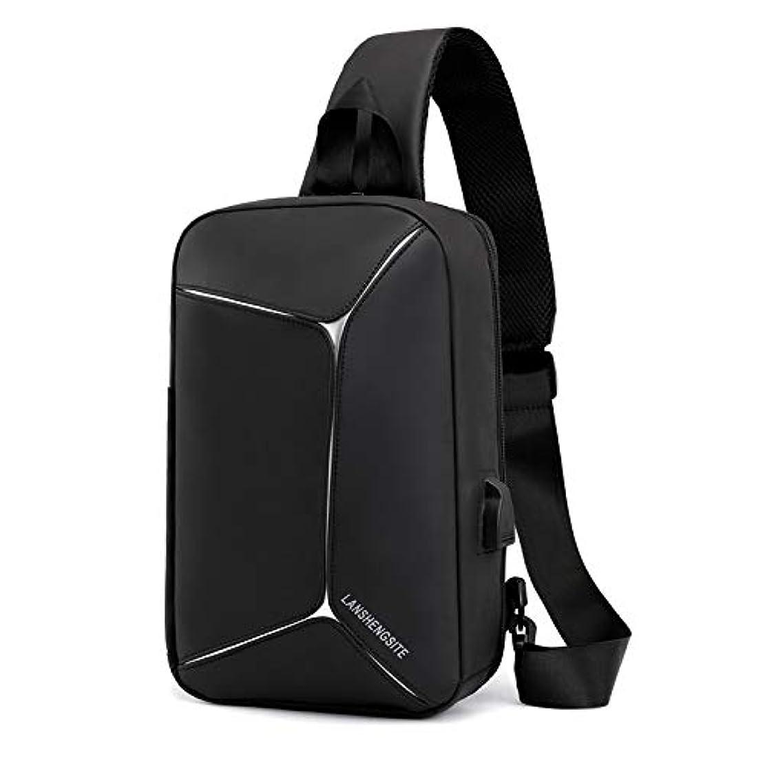 ルビー振るヒューズ2019新品 ボディバッグ 斜め掛け ショルダーバッグ メンズ 肩掛けバッグ 防水 軽量 大容量 多機能 USBポート付き 乾湿両用分離 旅行する 通勤 通学 (ブラック)