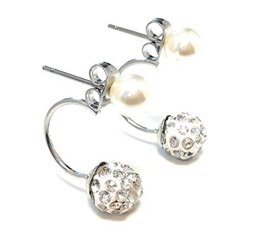 LeahMaria Trend Shamballa Perle Damen-Schmuck Ohrstecker Ohrringe Doppel-Kugel (Silber)