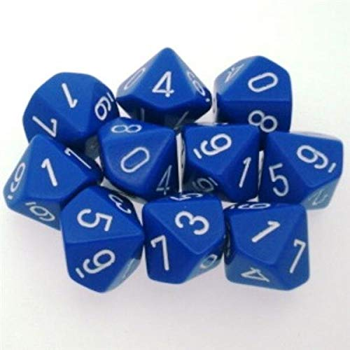 Chessex Dice Sets: Opaque Blue with White - Ten Sided Die d10 Set (10)