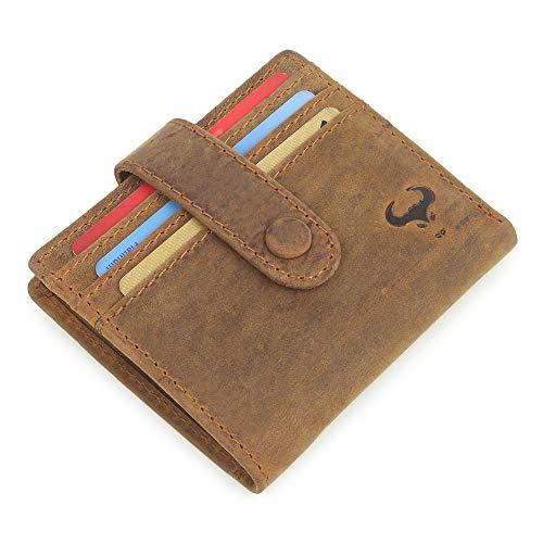 AlphaHide - Portafoglio da donna in vera pelle sottile, compatto a due volte, tasca portamonete con cerniera - RFID