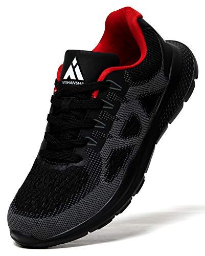 Mishansha Zapatillas para Correr Hombre Ligero Zapatos de Running Mujer Gimnasio Sneakers Negro 43