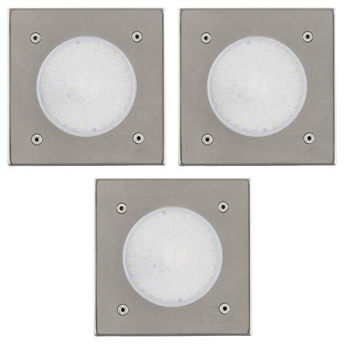 EGLO 3er Set LED Bodeneinbauleuchte Lamedo, 1 flammige Einbauleuchte, Wegelampe aus Edelstahl, Farbe: Silber, Glas: Weiß, satiniert, eckig, IP67