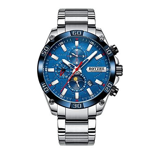 JTTM Hombres Automático Mecánico Reloj Luminoso Negocios Casual Relojes De Pulsera Marca De Lujo Acero Inoxidable Moda Fase Luna Deportes Relojes,Silver Blue