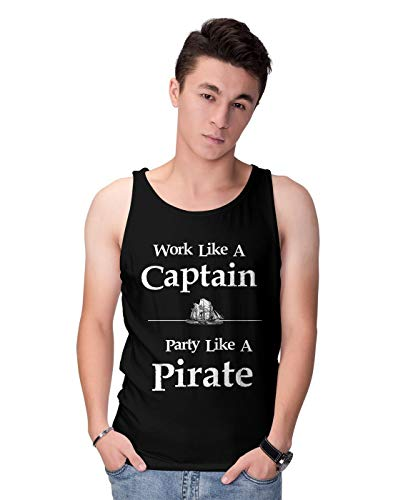 BLAK TEE Herren Work Like A Captain Party Like A Pirate Slogan Tank Top M