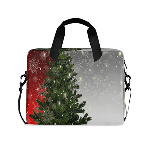Christmas Fir Tree Ice Crystal Laptop Shoulder Messenger Bag with Strap for 15.6 inch 16 inch Laptop Travel-Friendly Briefcase Notebook Computer Sleeve Case