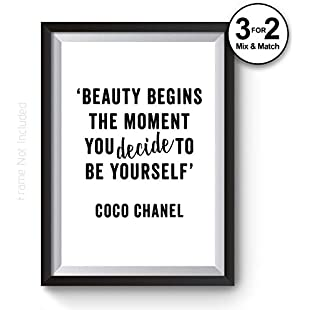 Beauty Begins the Moment You Decide to Be Yourself - COCO Chanel Typography Quote Wall Art Print - Fashion Wall Art