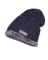 Krystle Wool Cotton Warm Winter Hat Knit Cap for Men and Women (Navy Blue)