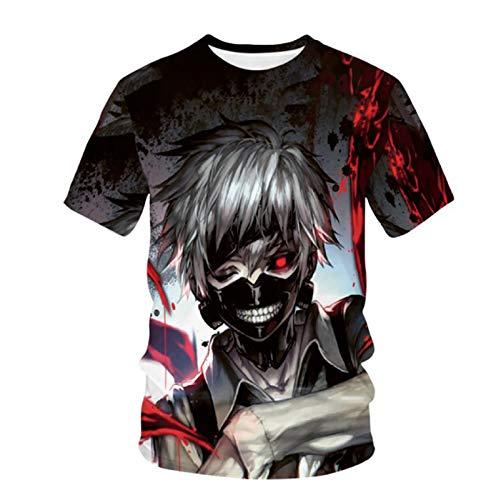 Camiseta con Estampado 3D de Tokyo Ghoul Unisex Anime Tokyo Ghoul Kaneki Ken Cosplay Disfraz Camiseta de Manga Corta