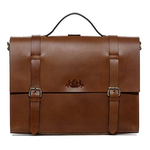SID & VAIN cartella & zaino vera pelle BOSTON DUO grande ventiquattrore borsa porta PC Ufficio Lavoro 15,4' uomo donna marrone