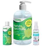 COOLINKO Hand Sanitizer Gel and Spray Set - Portable 16 fl oz Pump Dispenser, 3 oz Travel Pocket Size Bottle and 3.38 fl oz Spray (3 Pack Bundle Kit)