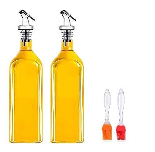Classic Glass Olive Oil Dispenser - 4 Pack (Bottle 2 + 2 Brush)- 1000ml Glass Oil Bottle, Oil and Vinegar Cruet with Dispenser - Crystal Clear