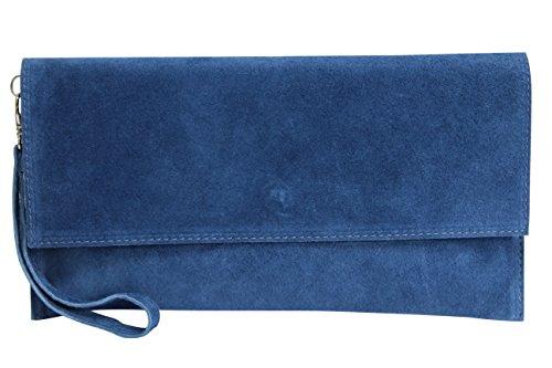 AMBRA Moda WL811 - bolsa de embragues, envelope clutch, carteras de mano de ante genuino para mujer (azul...