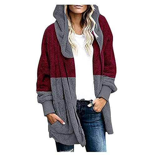 Vexiangni Chaqueta de punto para mujer, abrigo de felpa, chaqueta con capucha, chaqueta con bolsillos, chaqueta de invierno para mujer, chaqueta de invierno, abrigo de manga larga, burdeos, S
