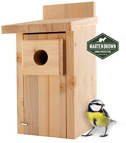 Martenbrown® Nistkasten für Meise (Blaumeise) aus Holz, wetterfest – Brutkasten für Vögel zum Aufhängen – Vogelhaus, Futterhaus