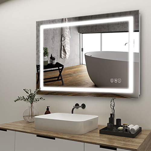 ANTEN 32x24 inch LED Lighted Bathroom Mirror, Wall Mounted Bathroom Vanity Mirror, Dimmable Touch Switch Control, 3000-6000K Adjustable Warm White/Natural/Daylight Lights, Horizontal & Vertical