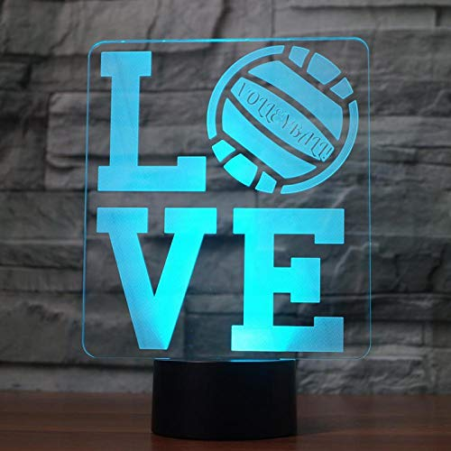 KangYD 3D Night Light Love Volleyball Creative, LED Illusion Lamp, A - Touch Black Base(7 Color), Lover Gift, Visual Lamp, Sleeping Lamp, Kid Gift, Colorful Gradient