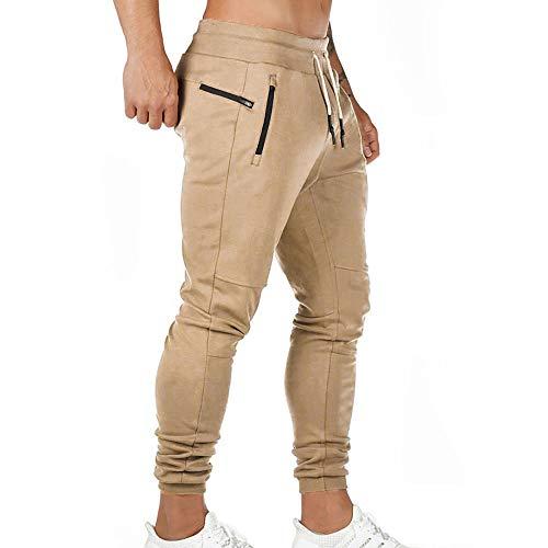 MUYOGRT Pantalones de chándal para hombre, de corte ajustado, para el tiempo libre, para correr, con bolsillos con cremallera, clásicos, elásticos caqui M