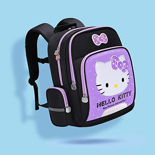 HTMAL Hello Kitty Bag Rugzak Polyester Fiber Materiaal Multi-layer Grote capaciteit Schooltas Basisschool Meisjes 1-3-6 Grade Meisjes Tas 6-12 Jaar Oude Kinderrugzak Driedimensionale Patroon Ridg