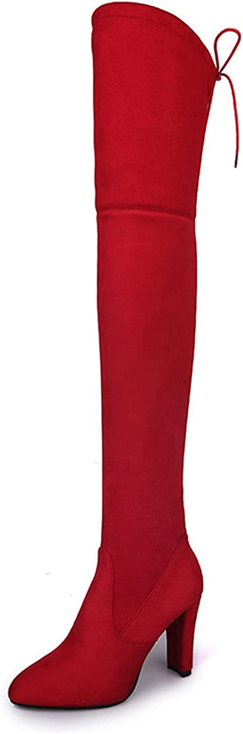 N\X Thigh High Boots New arrival free for Women Heel Suede H Stretch Chunky