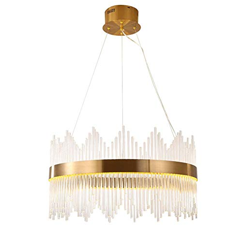 BUNUMO Lámpara Colgante LED Moderna Regulable Redondo Cristal Oro Diseño de Arte Decorativo Candelabro de 40W Sala de Estar Restaurante de Lujo Iluminación de Dormitorio Ajustable