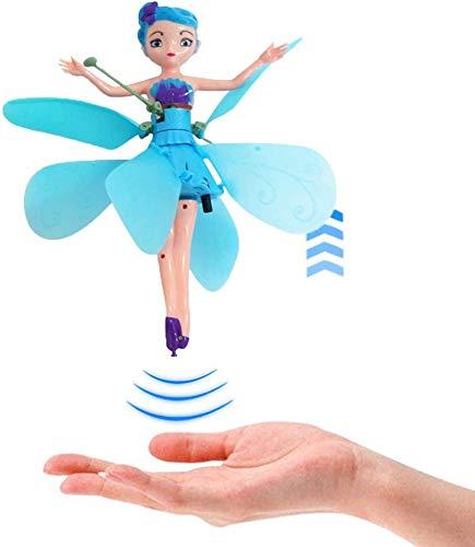 2 STÜCKE Fliegende prinzessin Ballett Puppen Spielzeug, Automatische Induktion Fliegende Elfe Magische Fee Puppe mit Lichter für Kinder Spielzeug Jungen Mädchen, USB Lade (Blau)