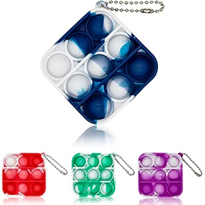 Mini Push Pops Bubble Fidget Toys Simple Dimple Keychain Toy for Adults and Kids Mini Push Fidget Silicone Pop Toy ,Gadgets Popular Silicone Bubble Toys Stress Relief Gifts for Girls and Boys (Blue) from KXEXK