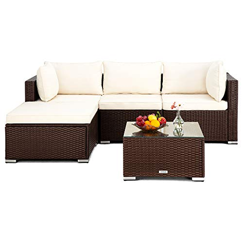 Pamapic 5 Pieces Patio Sectional Set, PE Rattan Steel Frame Outdoor Sectional Set, Patio Conversation Sets with Sofa and Tempered Glass Coffee Table for Patio Backyard Porch Garden Poolside (Brown)