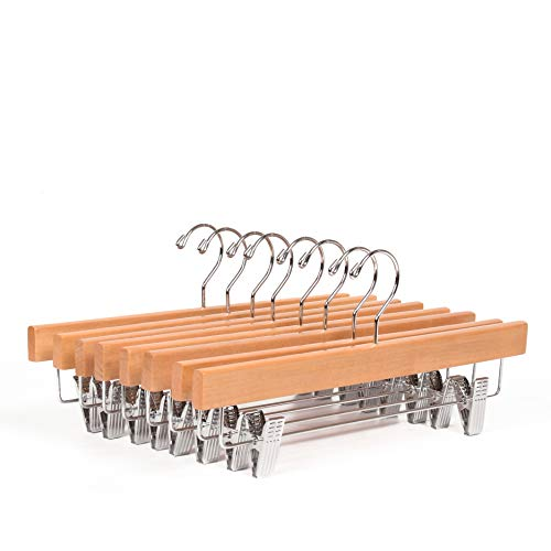Amber Home 10 Pack Solid Natural Wooden Pants Skirt Hangers Bottom Hanger for Slacks Trousers Jeans with 2-Adjustable Clips (Natural, 10 Pack)