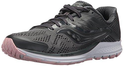 Saucony Women's Ride 10 Running Shoe, Gunmetal/Pink, 8 Medium US