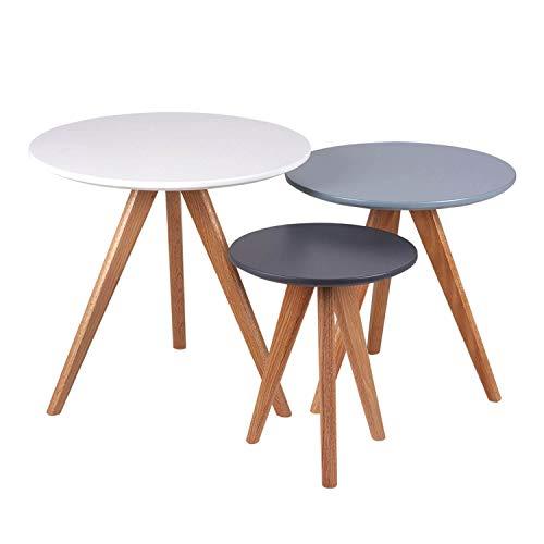 Koketto Home Aku - Tavolino da salotto, gambe in metallo e piano MDF, bianco, grigio, blu, taglia unica