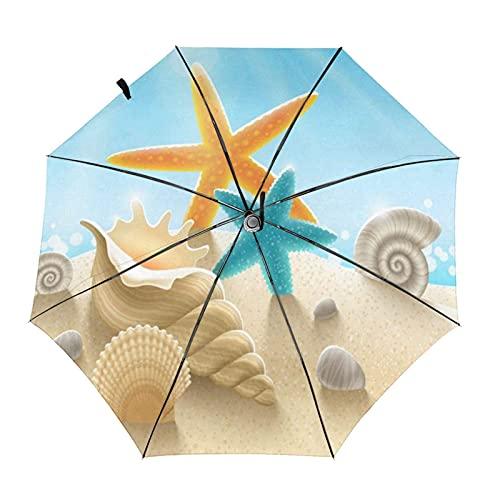 DXZ-Design Paraguas Plegable Compacto de Viaje, Sol, Lluvia, a Prueba de Viento, niños, Mujeres, Hombres, Verano, océano, mar, Mundo, Conchas de Playa, Estrella de mar
